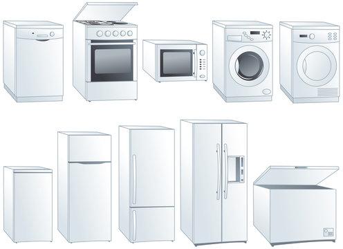 Home appliances vector illustrations set