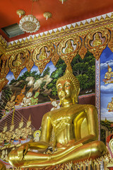 gold buddha in temple at thailand