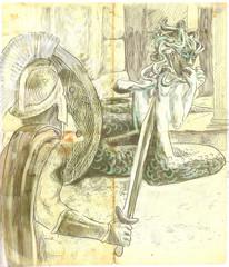 Greek myth and legends (Hand drawing) - Perseus, Medusa