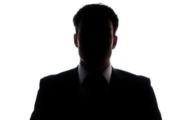 Businessman portrait silhouette and a misterious face