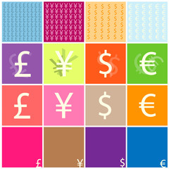 Dollar, euro, yen and pound vector