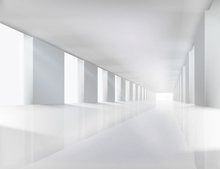 Corridor in modern building. Vector illustration.