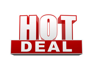 hot deal in 3d letters and block