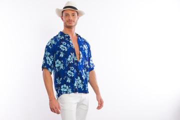 model in hawaiian shirt