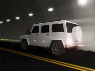 Modern SUV Car in a Tunnel with Motion Blur