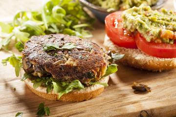 Homemade Organic Vegetarian Mushroom Burger