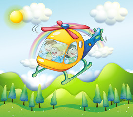 Door stickers Rainbow A helicopter with kids