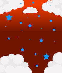 The blue stars and the white clouds