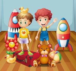 Keuken foto achterwand Beren Two boys surrounded with toys
