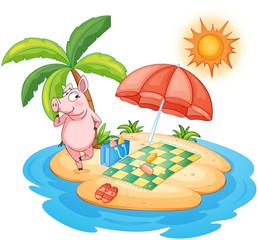 A beach with a pig enjoying summer