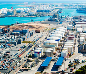 Aerial view of the Barcelona port, in Spain