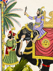 Peinture d'un éléphant royal noir, Rajasthan,Inde.