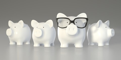 Piggy bank - group with big pig with glasses