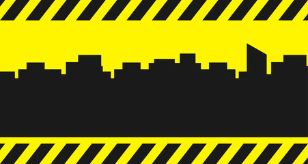 background with city and construction symbol - place for text