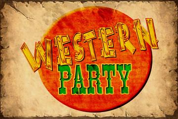 Aluminium Prints Vintage Poster Retroplakat - Western Party