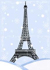grunge eiffel tower with snow