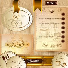 Collection of business elements for cafe and menu design in clas