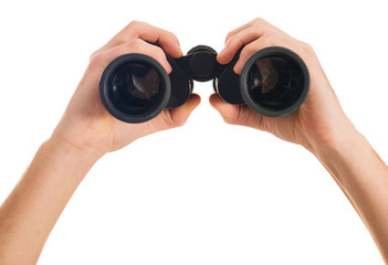Close-up Of Human Hand Holding Binoculars