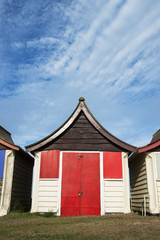 Beach Hut at Mablethorpe, Lincolnshire, UK.