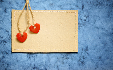 Two hearts on a card