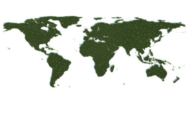 World Map Series Symbols out of realistic Grass