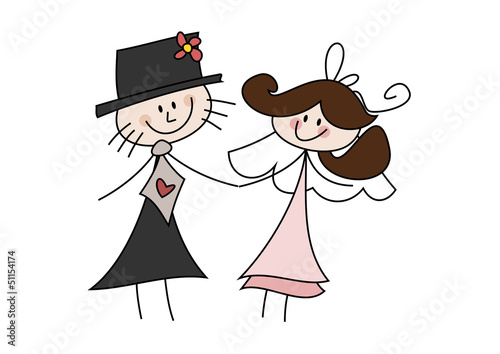 Cartoon Zeichnung Frohliches Brautpaar Stockfotos Und Lizenzfreie