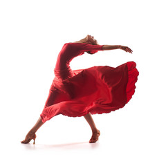 Photo sur Aluminium Carnaval woman dancer wearing red dress