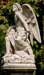 Guardian Angel statue in a cemetery