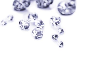 Beautiful shining crystals (diamonds), isolated on white