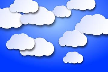 Fototapeten Himmel nuvolette di cartone su uno sfondo azzurro cielo
