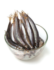 sprat fish in a glass bowl