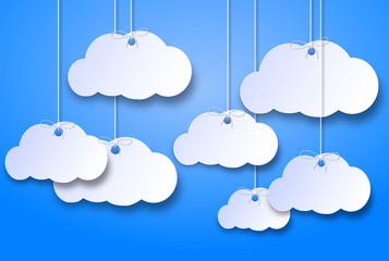 Foto op Plexiglas Hemel nuvolette di cartone su uno sfondo azzurro cielo