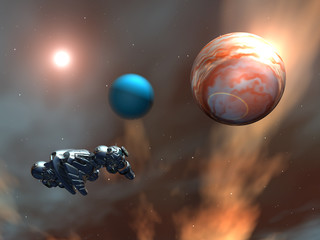 Alien Planet with Alien Spaceship