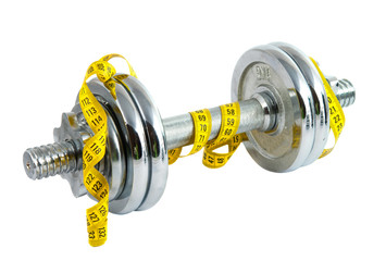 dumbbells with meter tape
