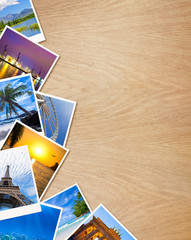 Traveling photos on wooden background