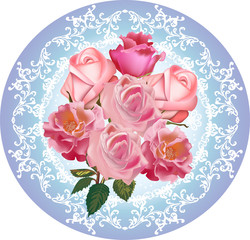 pink roses round design on blue background