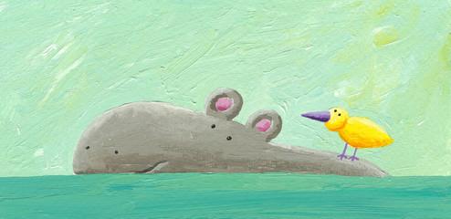 Funny hippo and bird