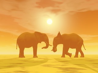 Elephant couple - 3D render