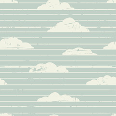 Abstract retro striped background with clouds