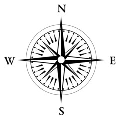 Black compass rose isolated on whte - vector
