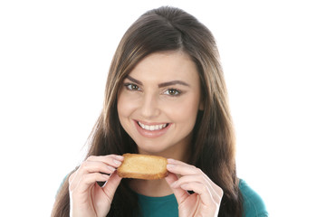 Young Woman Eating French Toast