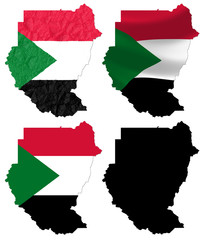 Sudan flag over map collage