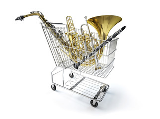 Supermarket trolley, full of wind musical instruments.