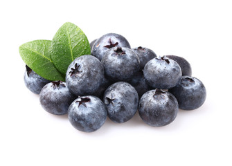 Ripe blueberries with drops water