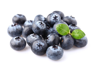 Sweet blueberries with leaf