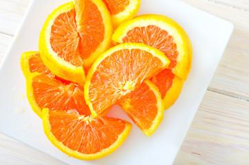 Aluminium Prints Slices of fruit orange
