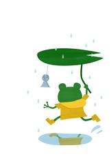カエルと雨