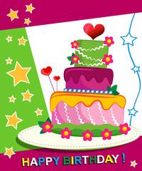 Birthday Cake. Children postcard. Day of birth.