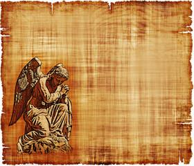 Angel in Prayer Parchment