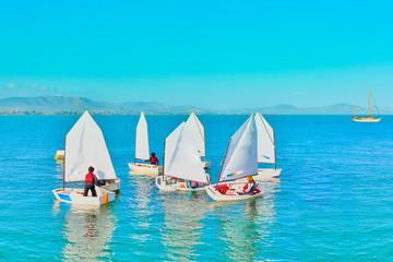 Garden Poster Water Motor sports Sailing in Greece,Sail training of young children in Greek islan